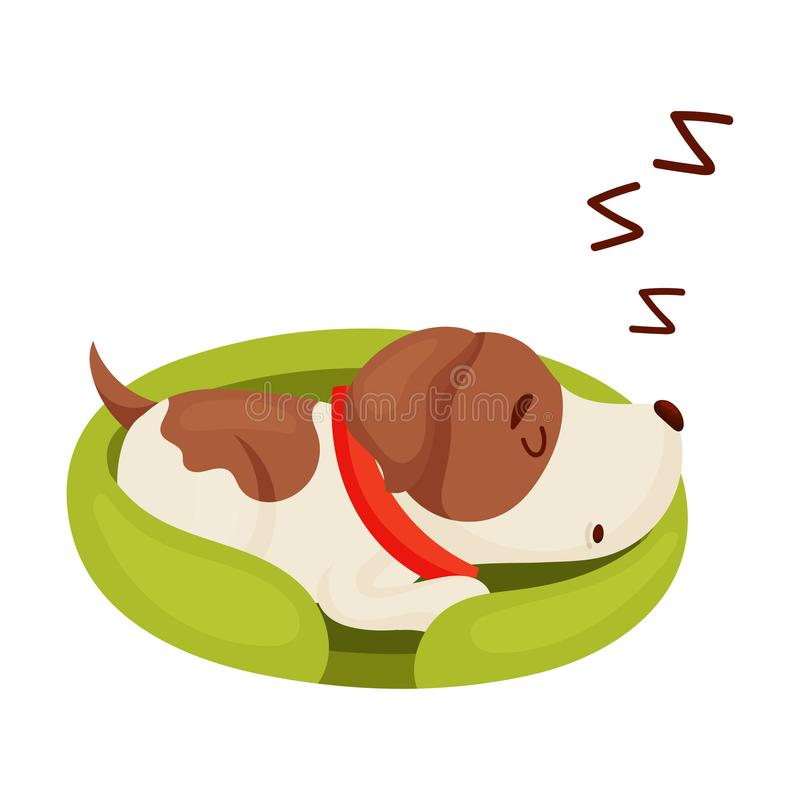Cute puppy is sleeping. Vector illustration on white background. royalty free illustration