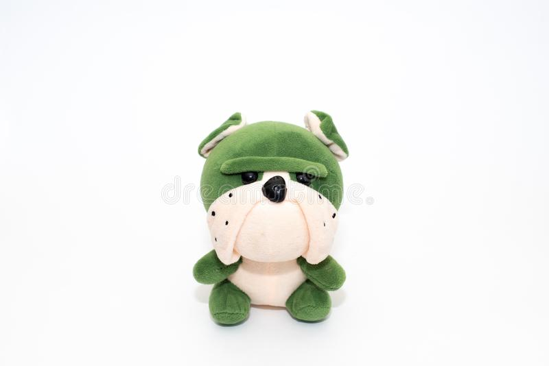 Cute puppy toy shot on white stock photography