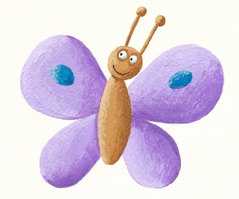 Cute purple butterfly stock illustration