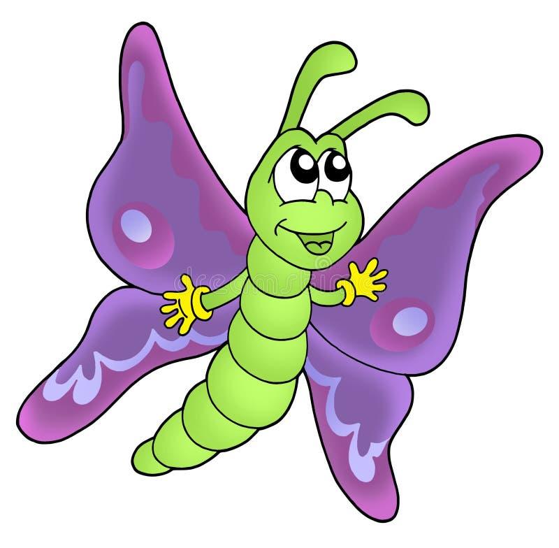 Cute purple butterfly vector illustration