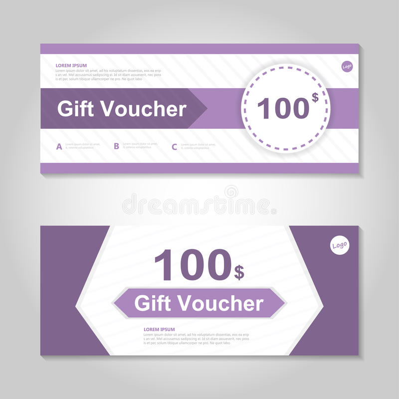 Cute Purple Gift Voucher Template Layout Design Set, Certificate ...