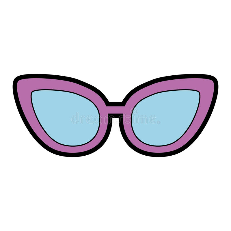 Cute purple glasses cartoon. Vector graphic design stock illustration