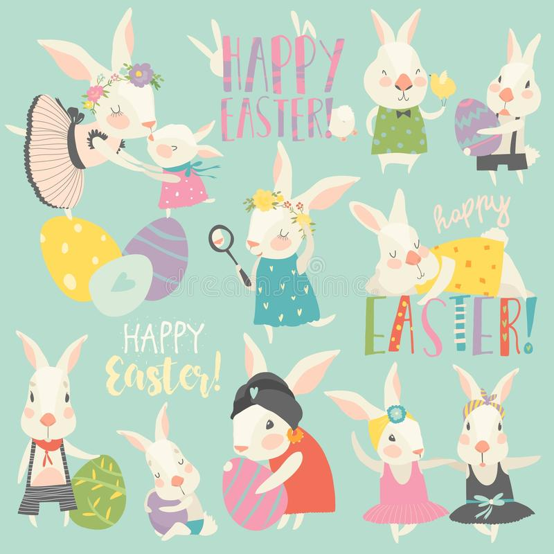 Cute rabbit and bunny with Easter eggs stock illustration