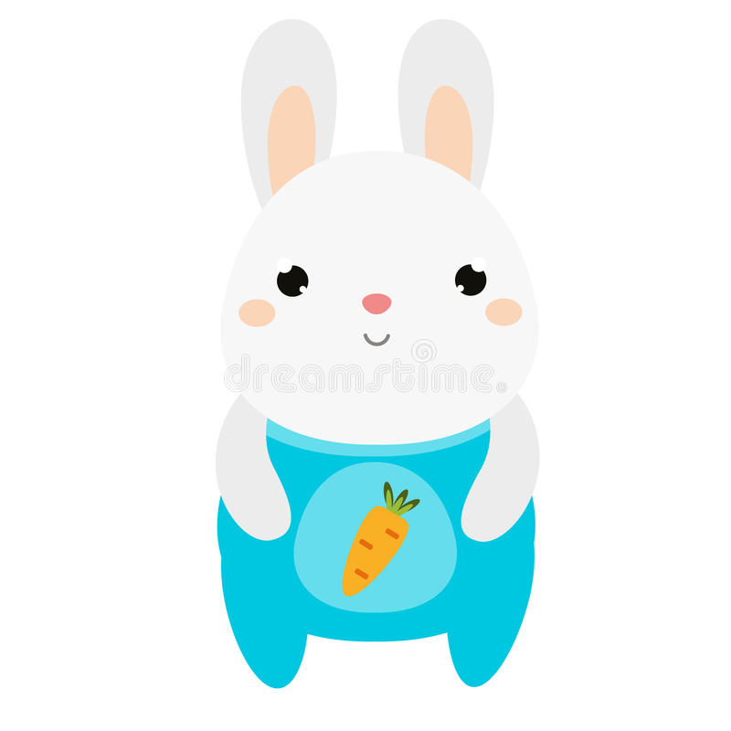 Cute rabbit. Bunny in jumpsuit. White hare. Cartoon kawaii animal character. Vector illustration for kids and babies fashion. Cute rabbit. Bunny in jumpsuit royalty free illustration