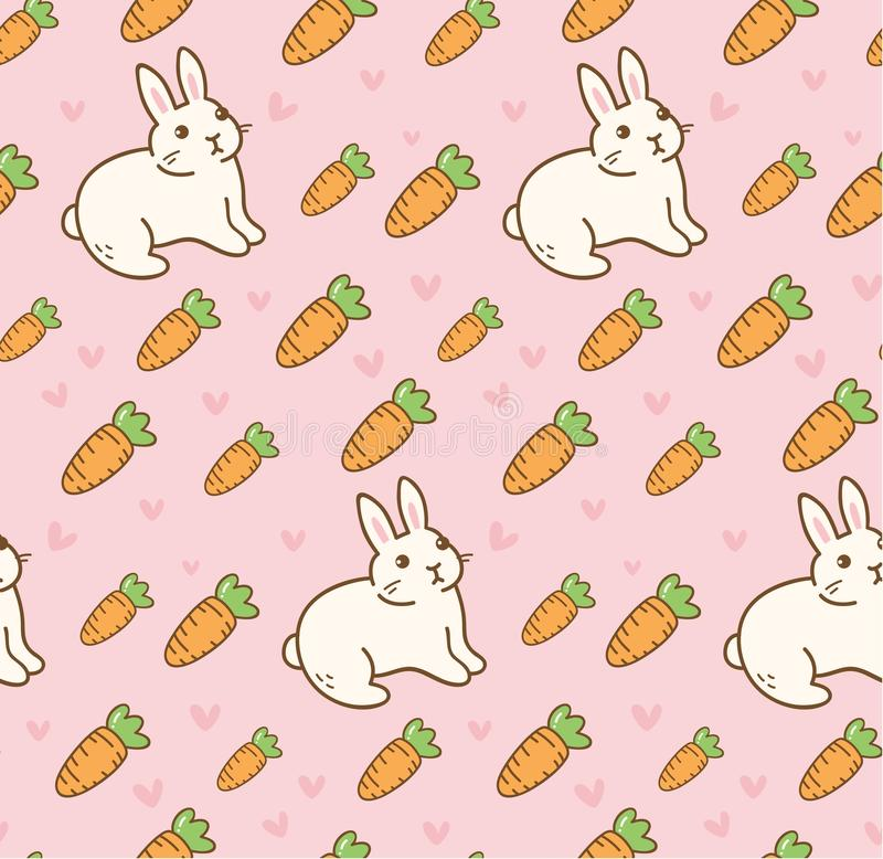 Cute rabbit with carrot seamless pattern stock illustration