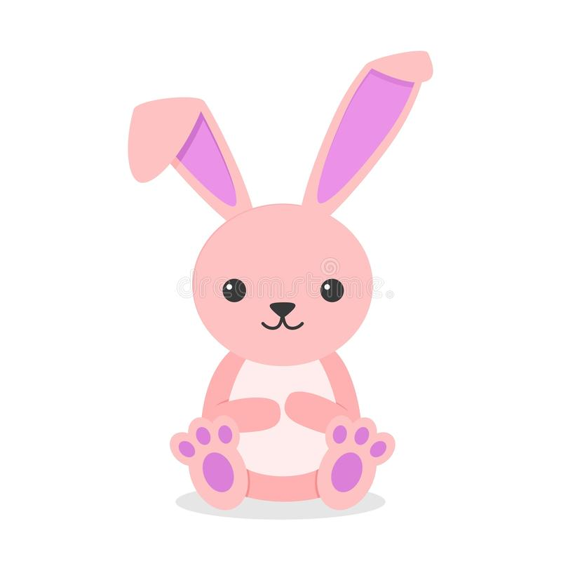 Cute rabbit character sitting isolated on white background. Little bunny pink in flay style. vector illustration