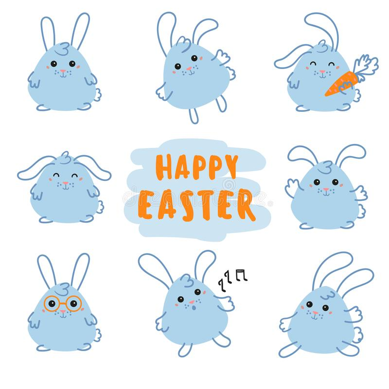 Happy Easter Day bunny, rabbit with carrot vector illustration