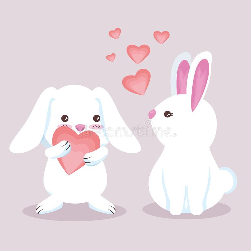 Cute rabbit couple with adorable hearts stock illustration