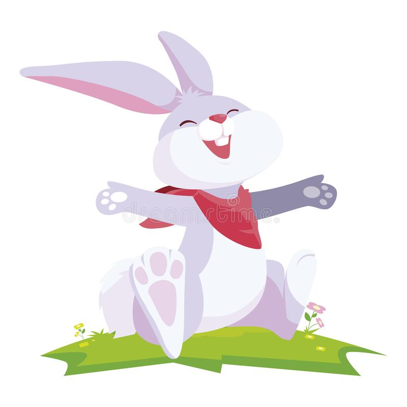 Cute rabbit easter in the camp. Vector illustration design vector illustration