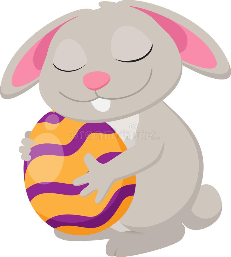 Cute rabbit with easter egg cartoon collection set stock photo