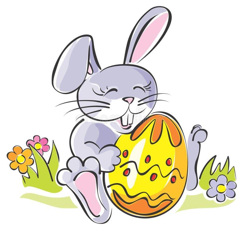 Cute rabbit holding Easter egg vector illustration