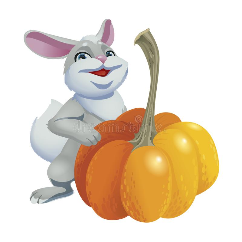 Cute rabbit with pumpkins isolated on white background. Vector illustration of cartoon gray hare. stock illustration