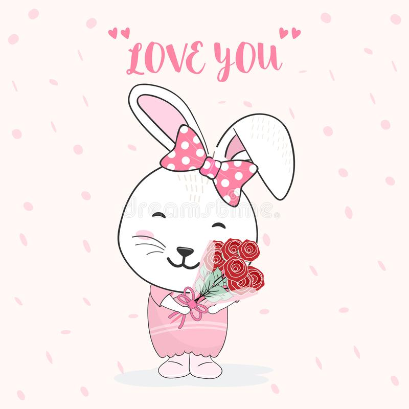Cute rabbit and rose bouquet animal cartoon illustration. Cute rabbit and rose bouquet animal cartoon hand drawing illustration vector background stock illustration