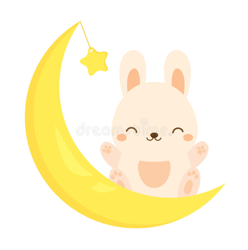 Cute rabbit sitting on the moon. Kawaii Bunny, hare. Cartoon animal character for kids, toddlers and babies fashion.  royalty free illustration