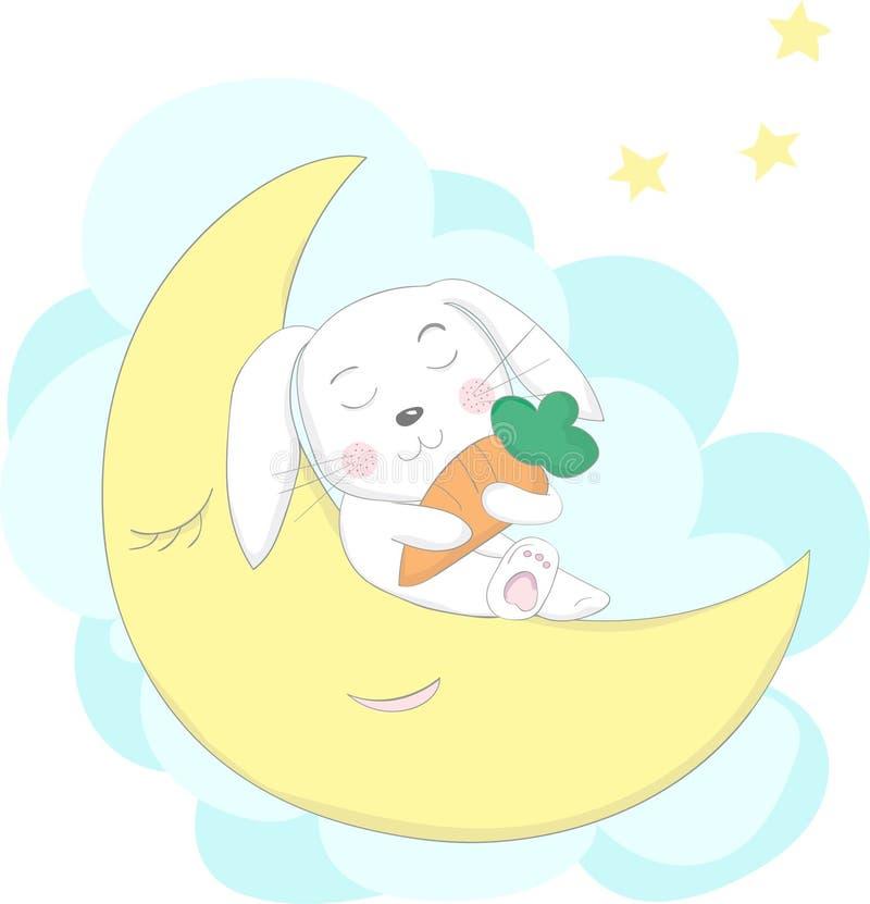Cute rabbit sleep cartoon with moon at night. Hand drawn style.  stock illustration
