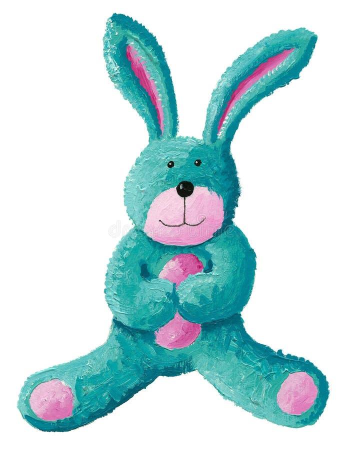Cute rabbit toy. Acrylic illustration of cute rabbit toy