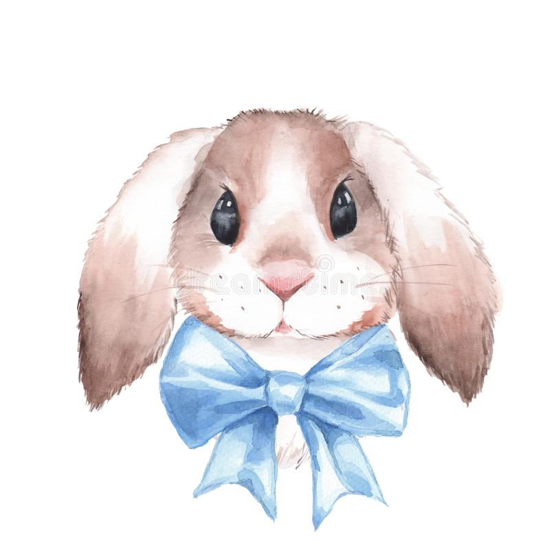 Cute rabbit with bow. Watercolor illustration stock illustration