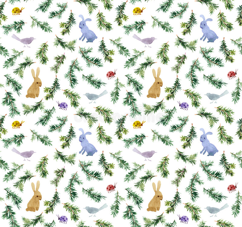Cute rabbits, birds, branches christmas tree. Seamless pattern. Watercolor royalty free stock images
