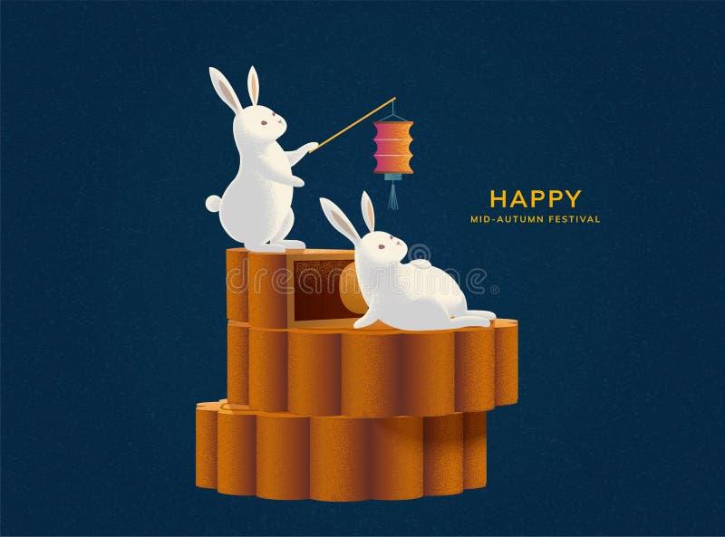 Cute rabbits on mooncake. Happy Mid-autumn festival with cute rabbits on mooncake stock illustration