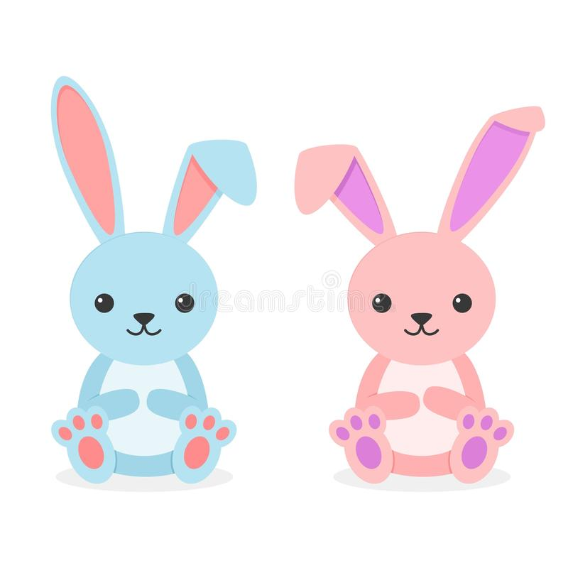 Cute rabbits sitting boy and girl isolated on white background. Little bunnies blue and pink in flay style. Vector illustration royalty free illustration