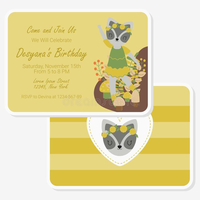 Cute raccoon say hi on flowers garden suitable for birthday card design royalty free illustration