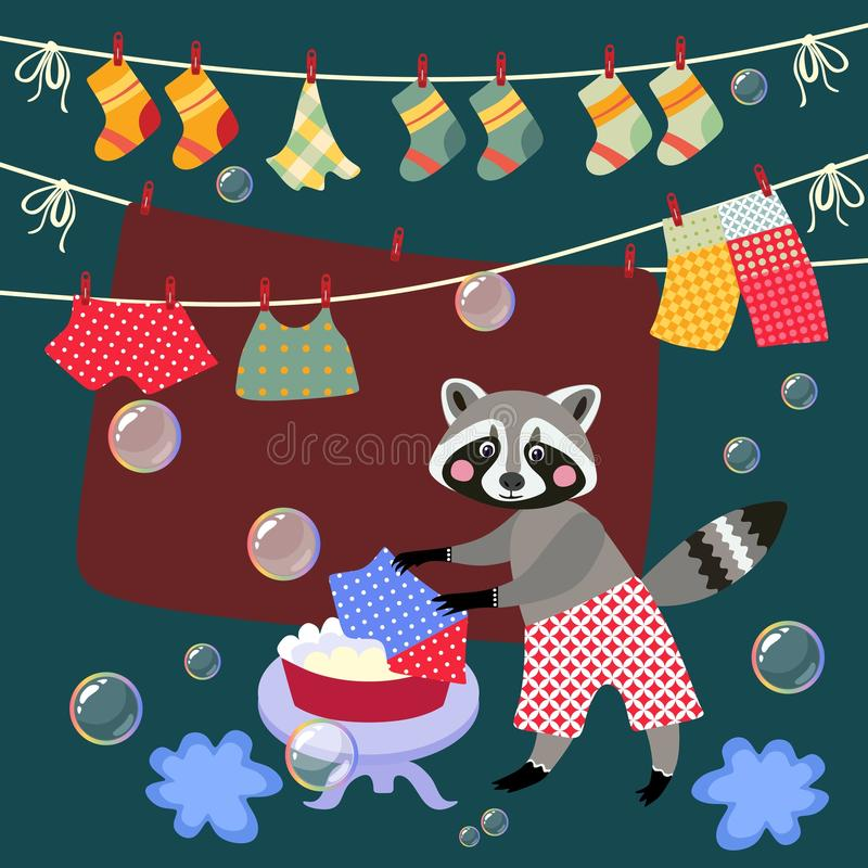 Cute raccoon washes clothes. stock illustration