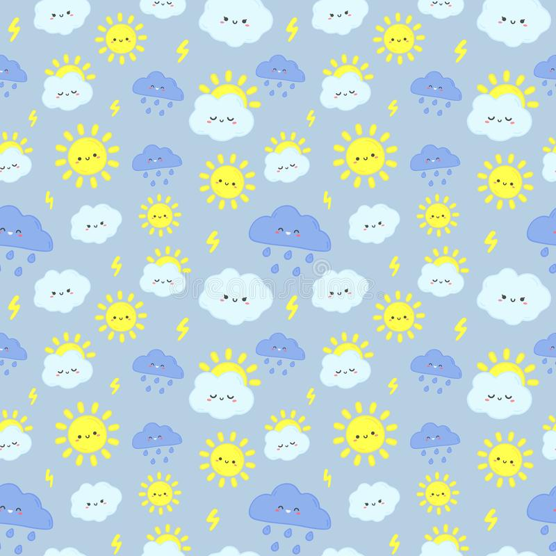 Cute rain sky pattern. Smiling happy sun, thunderclouds with lightning and rainy day clouds seamless vector illustration stock illustration