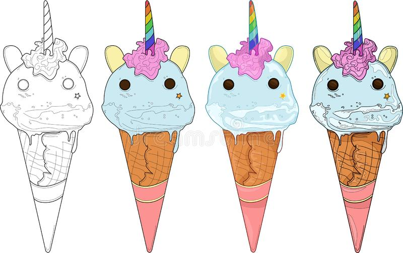 Cute Cartoon Unicorn. Ice Cream. Black And White Vector ...