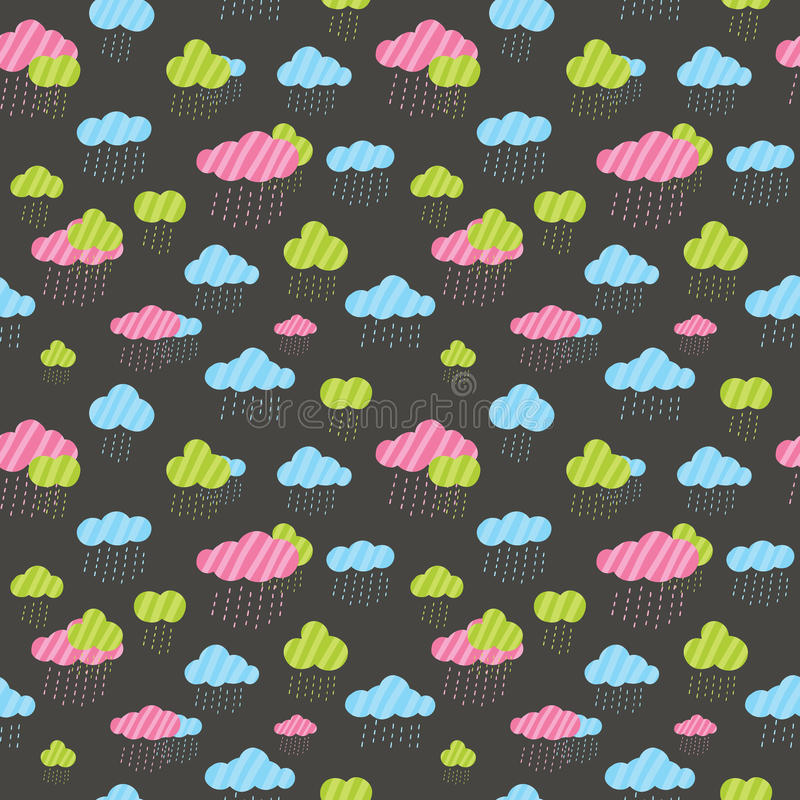 Cute rainy clouds seamless pattern. royalty free illustration
