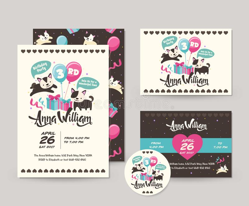Cute Rare Black Cat Theme Happy Birthday Invitation Card Set And Flyer Illustration Template. Cute Children Happy Birthday Invitation Card Set And Flyer vector illustration