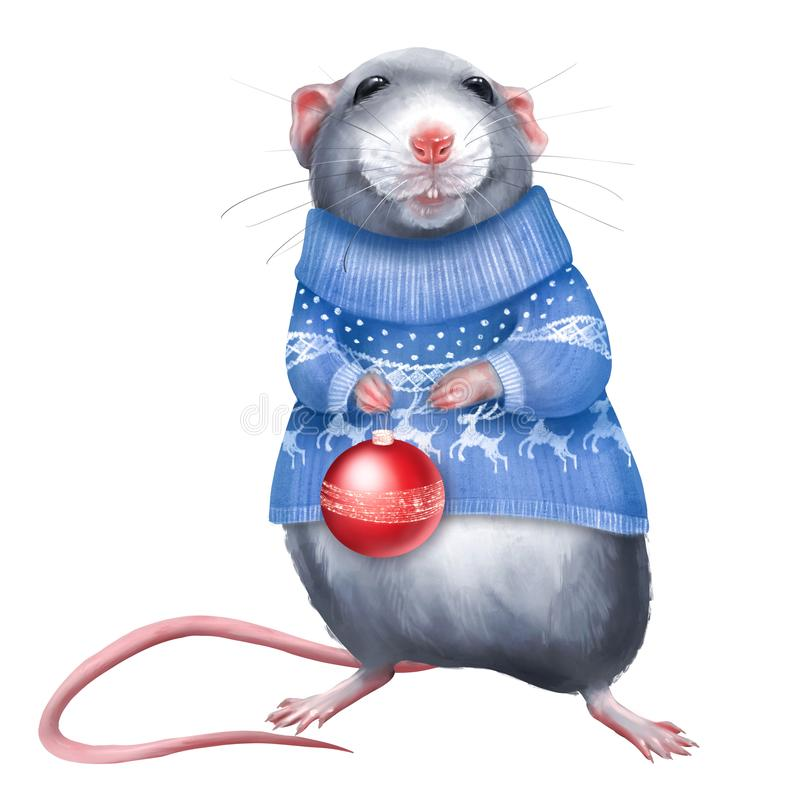 Cute rat in a blue sweater. Holding a Christmas ball vector illustration