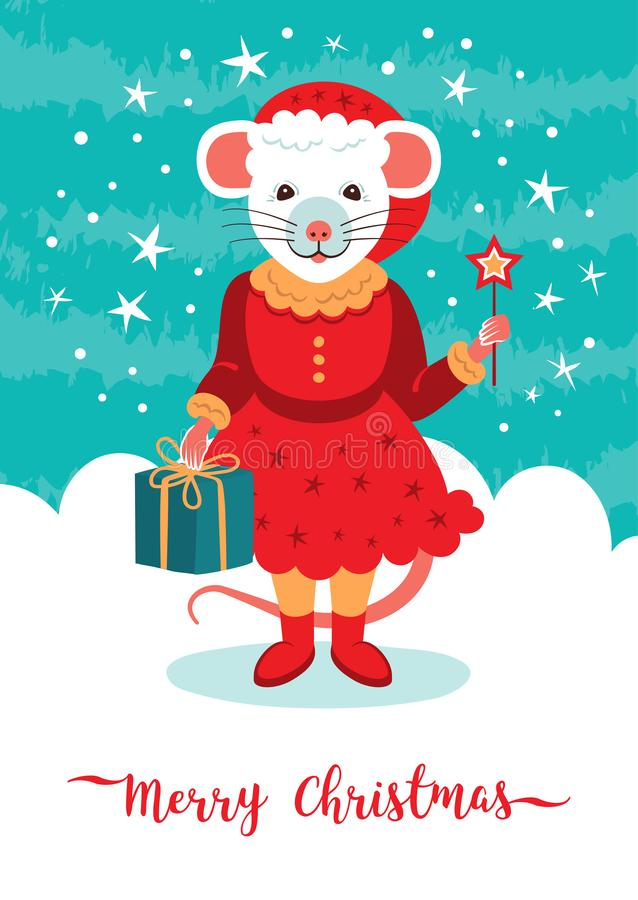 Cute rat character Christmas Card. Cartoon mouse holds a gift and a sparkler. Happy New Year 2020. Vector illustration stock illustration