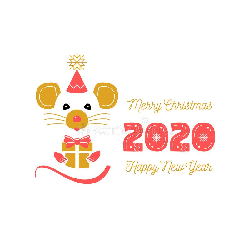 Cute rat and date 2020 year. Christmas Card and Happy New Year Greetings. Year of the Rat 2020 Chinese Zodiac. Vector vector illustration