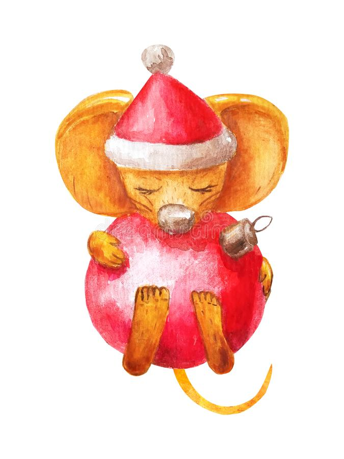 Cute rat in santa hat holds christmas glass red ball in his paws. Happy New Year 2020 Chinese mouse. Cozy watercolor isolated on a vector illustration