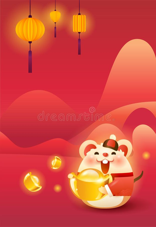 Cute rat in Tang suit. Holding gold ingot wishing happy Chinese new year 2020. Vertical version stock illustration