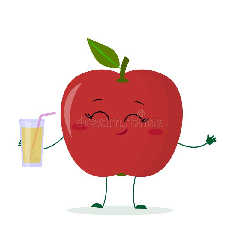 Cute red apple cartoon character holding a glass with juice. Logo, template, design. Vector illustration, flat style royalty free illustration