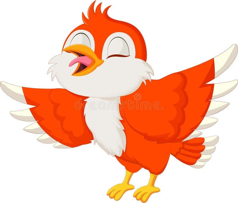 Cute red bird singing vector illustration