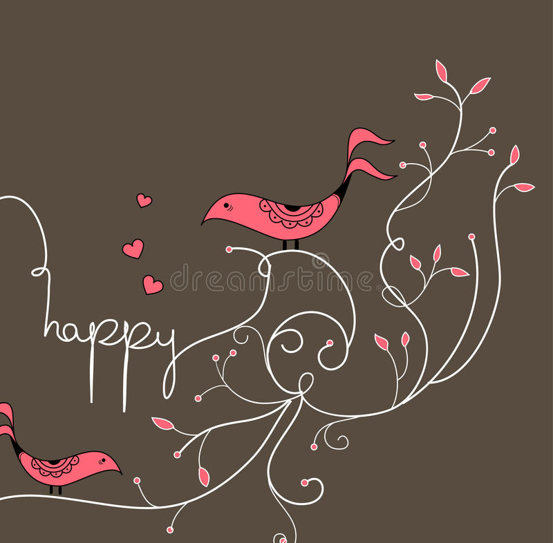 Cute red bird with tree royalty free illustration