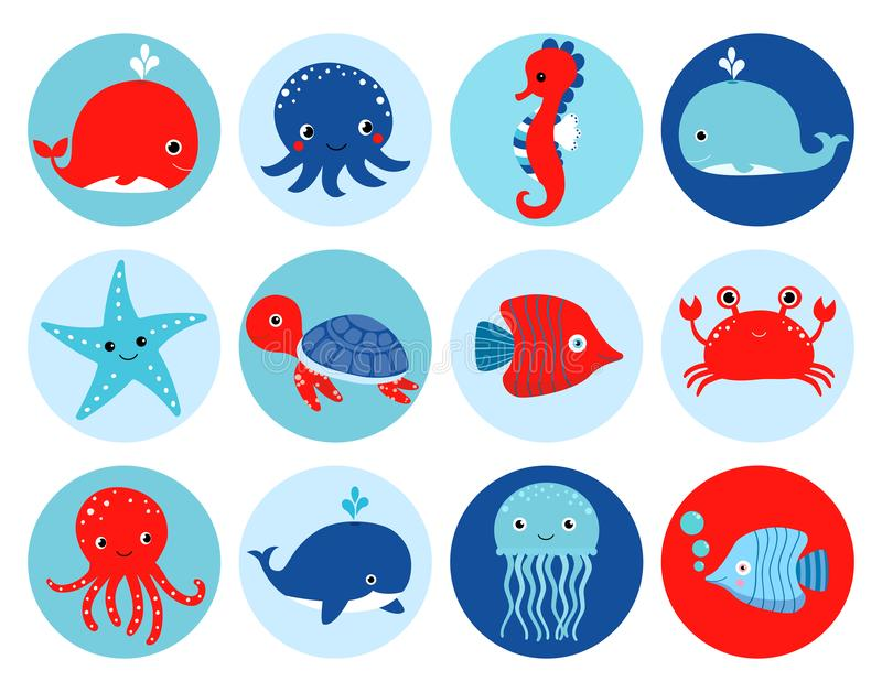 Cute red and blue vector ocean themed icons with sea animals stock illustration