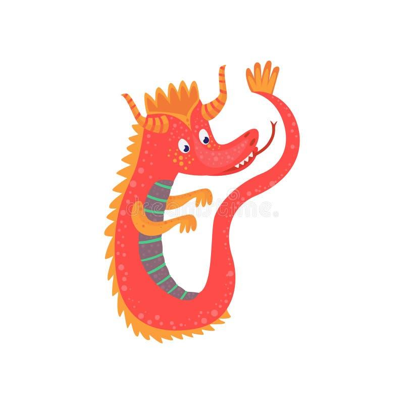 Cute red cartoon baby dragon character, mythical animal, fantasy reptile vector Illustration vector illustration