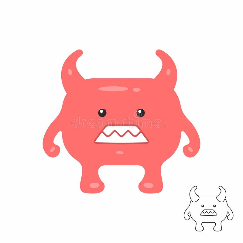 Cute Red Cartoon Monster Stock Vector Illustration Of Background