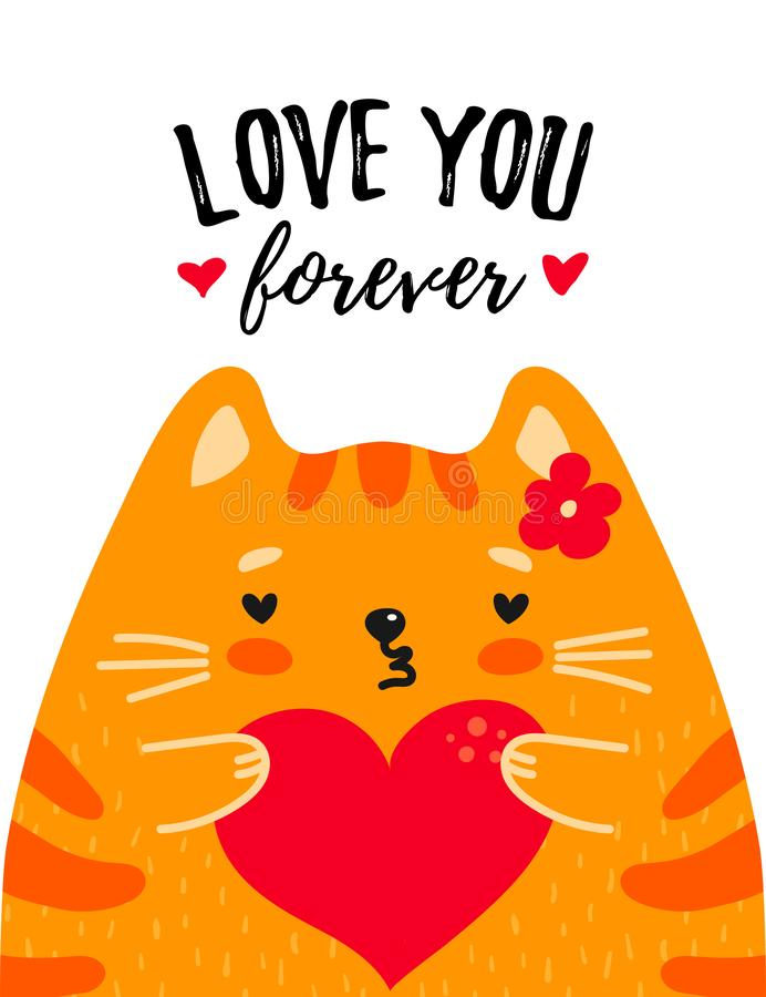 Cute red cat with heart in paws stock illustration
