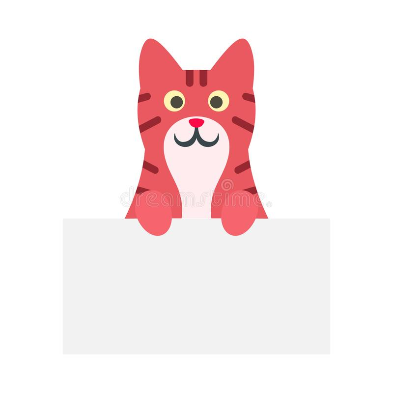 Cute red cat icon, flat style royalty free illustration