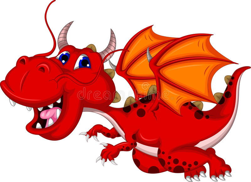 Cute red dragon cartoon flying royalty free illustration