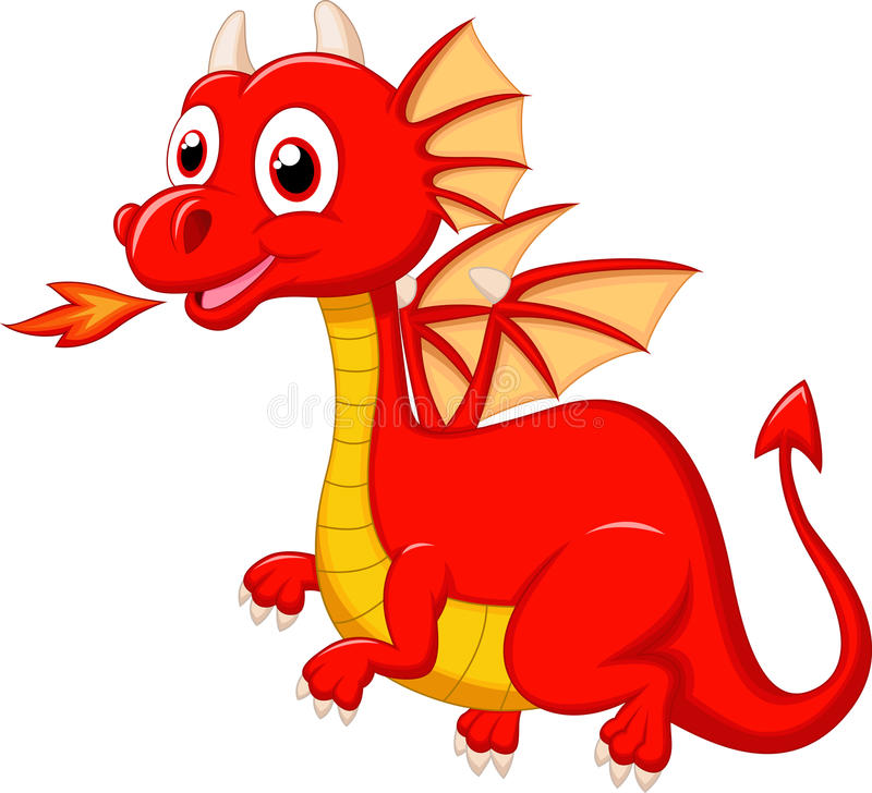 Cute red dragon cartoon vector illustration