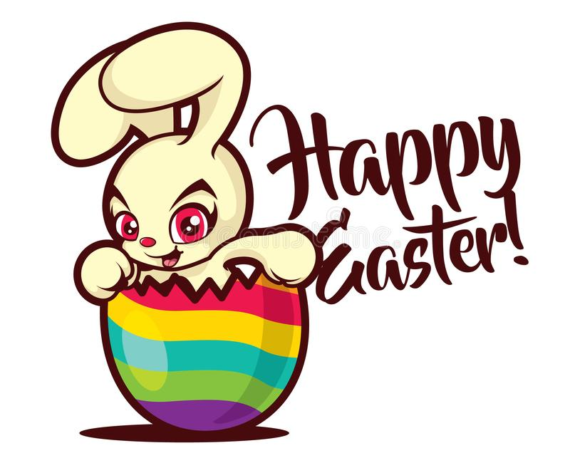 Cute red eyes easter bunny stay inside the painted cracked egg. Happy Easter greeting royalty free illustration