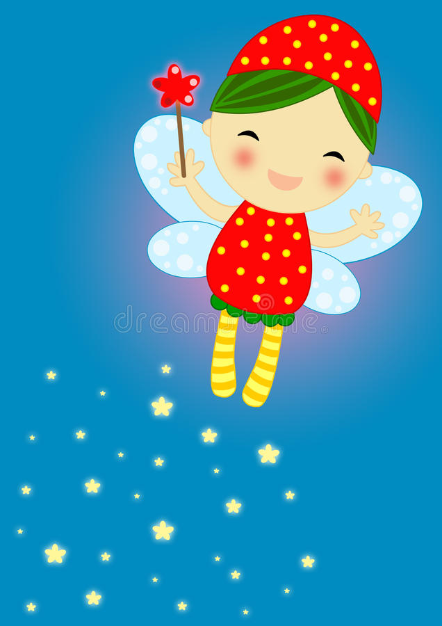 Cute red firefly fairy stock photography