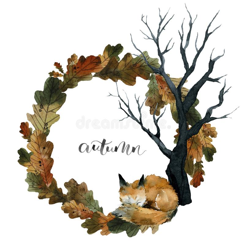 Cute red fox sleeps on leaves under a tree, autumn lettering, wreath of leaves, watercolor stock illustration