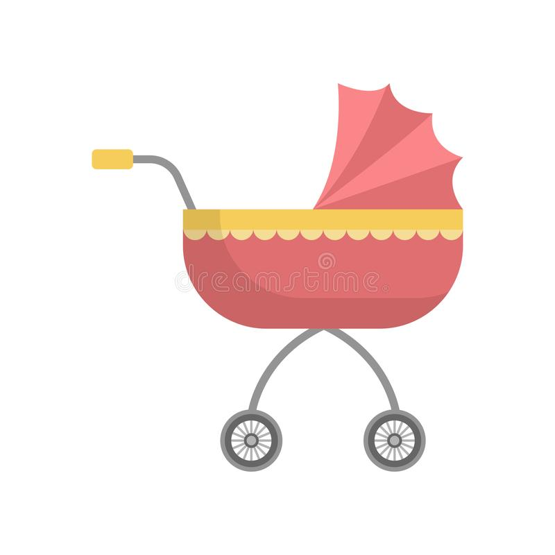 Free Cute Red Girl Baby Stroller With Yellow Ornament Royalty Free Stock Photos - 148086068