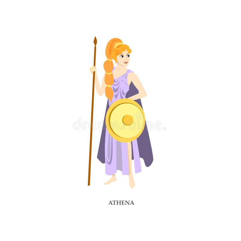 Cute red hair greek woman god Athena with gold shield vector illustration